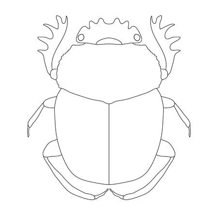 scarab. Geotrupidae dor-beetle . Sketch of dor-beetle. dor-beetle scarab isolated on white background. dor-beetle scarab Design for coloring book.  hand-drawn scarab,  dor-beetle. Vector illustration