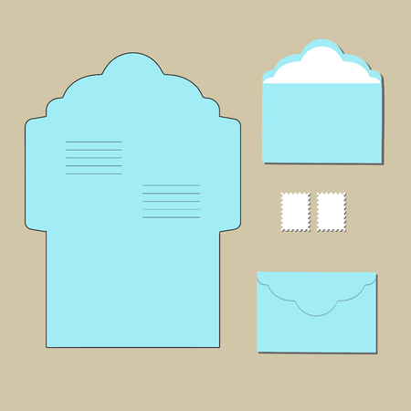 paperboard packaging: envelope templates. on grey background. Vector illustration Illustration