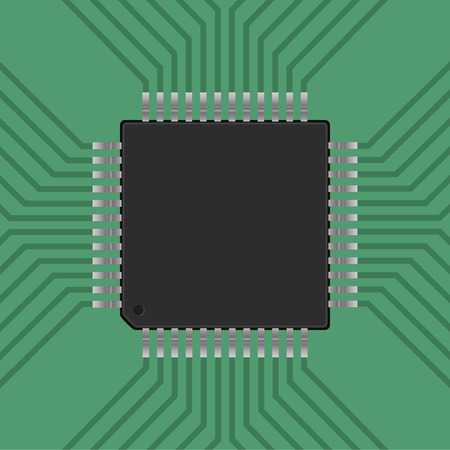 microcontroller: a microcontroller. CPU, Processor with tracks. Vector illustration Illustration
