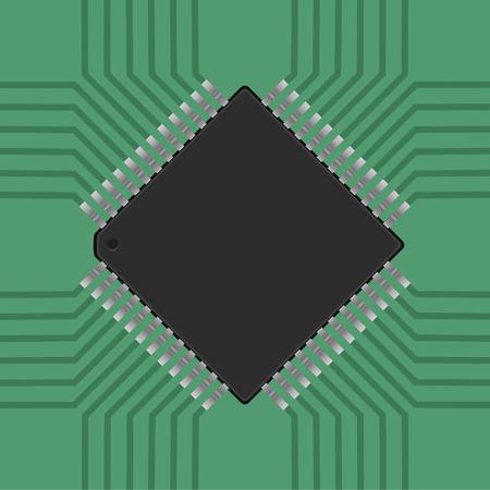 processor: a microcontroller. CPU, Processor with tracks. Vector illustration Illustration