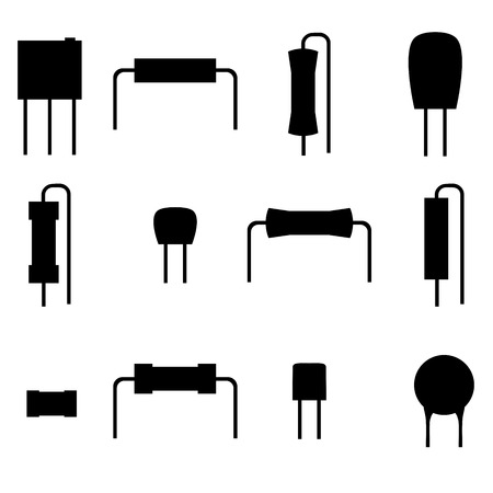 polyester: electronic components icons set, silhouette resistors isolated on white background. Vector illustration