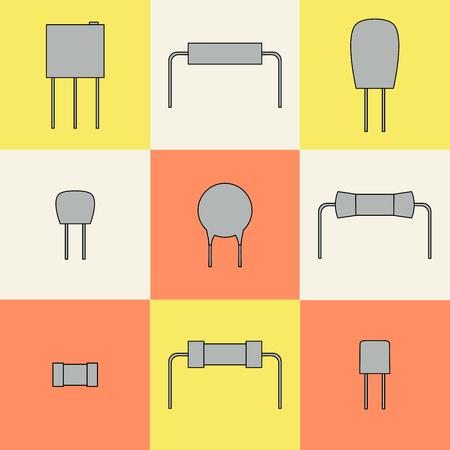 componentes: componentes electr�nicos iconos establecen resistencias. Ilustraci�n vectorial