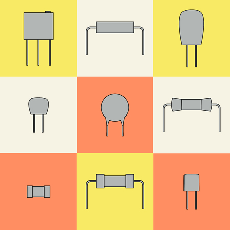 electronic components icons set resistors. Vector illustration