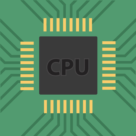 microcontroller: a microcontroller. CPU Processor with tracks. Vector illustration