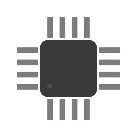 microcontroller: a microcontroller. CPU Processor with tracks.  Isolated on white background. Vector illustration Illustration