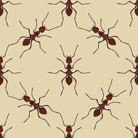 hormiga: Patr�n sin fisuras con la hormiga exsecta .Formica. hormiga dibujado a mano. ilustraci�n vectorial