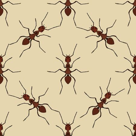 Seamless pattern with ant .Formica exsecta.   hand-drawn ant. Vector illustration
