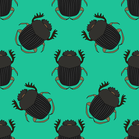 Seamless pattern with dor-beetle .Geotrupidae    hand-drawn dor-beetle . Vector illustration
