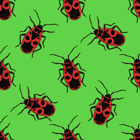 Seamless pattern with bug-soldier or Firebug . Pyrrhocoris apterus.  hand-drawn bug-soldier, Firebug . Vector illustration