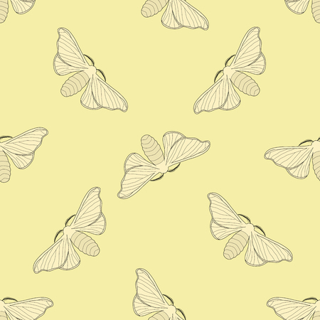 mori: Seamless pattern with butterfly Bombyx mori.    hand-drawn butterfly Bombyx mori . Vector illustration