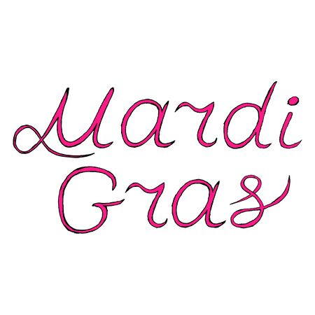 shrove: vector handwritten lettering Mardi Gras or Shrove Tuesday label, Mardi Gras text vector stock illustration