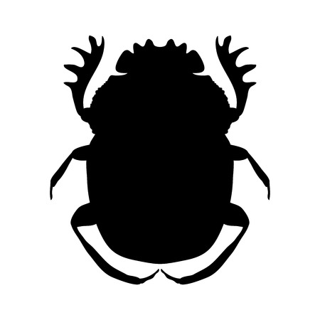 geotrupidae: silhouette scarab. silhouette Geotrupidae dor-beetle .silhouette dor-beetle scarab isolated on white background.scarab, dor-beetle.  Illustration