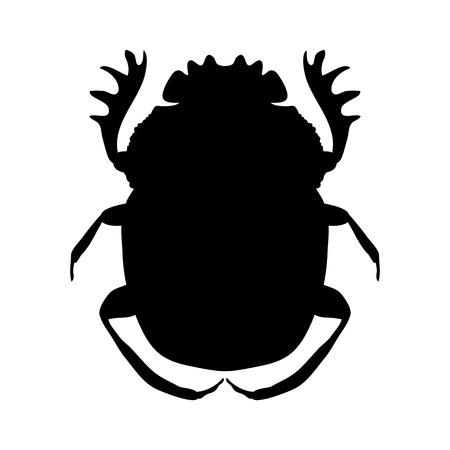 silhouette scarab. silhouette Geotrupidae dor-beetle .silhouette dor-beetle scarab isolated on white background.scarab, dor-beetle.  Illustration