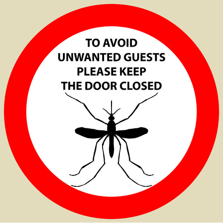insect mosquito: Sticker with Warning sign insect icon mosquito. Mosquito Silhouette illustration Illustration
