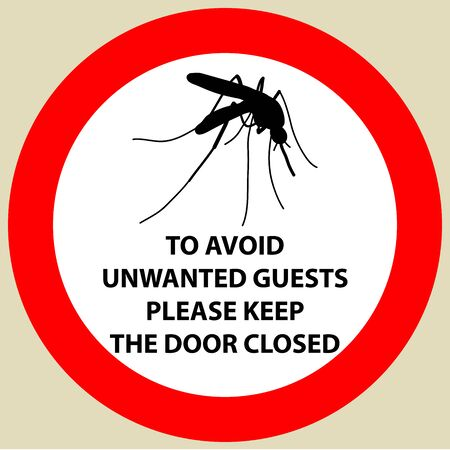no mosquito: Sticker with Warning sign insect icon mosquito. Mosquito Silhouette illustration Illustration