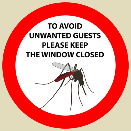 Sticker with Warning sign insect icon mosquito. Mosquito Silhouette  Vector illustration
