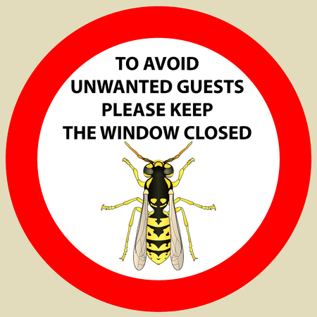 Sticker with Warning sign insect  wasp icon . Wasp Silhouette  Vector illustration Иллюстрация
