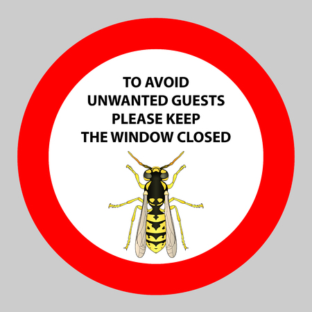 wasp: Sticker with Warning sign insect  wasp icon . Wasp Silhouette  Vector illustration Illustration