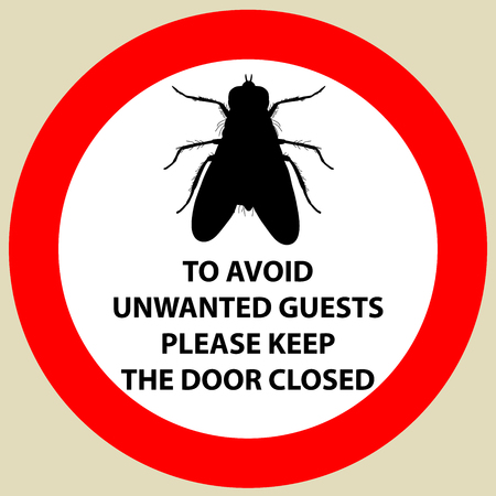Sticker with Warning sign insect fly icon. Fly Silhouette  Vector illustration