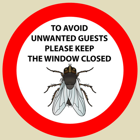 irritation: Sticker with Warning sign insect fly icon. Fly Silhouette  Vector illustration