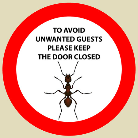 Sticker with Warning sign insect icon ant. Ant Silhouette  Vector illustration Иллюстрация