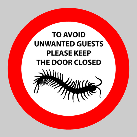 centipede: Sticker with Warning sign insect icon centipede . Silhouette hand-drawn centipede.  Vector illustration