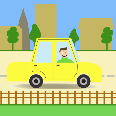 Car. Man in a car in the city. Car in city. Green car.Car on the road. Flat style. Vector illustration Иллюстрация