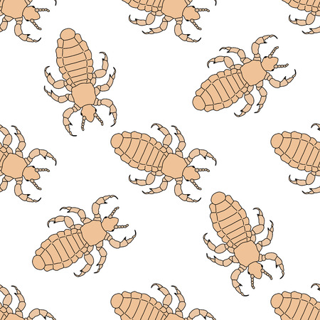 Seamless pattern with head human louse. Pediculus humanus capitis .    hand-drawn head human louse . Vector illustration Иллюстрация