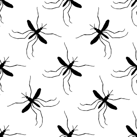mosquitoe: Seamless pattern with mosquito.Culex pipiens. hand-drawn mosquito. Vector illustration