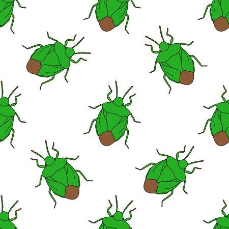 palomena prasina: Seamless pattern with shield bug. Palomena prasina hand-drawn shield stink bug. Palomena prasina. Vector illustration