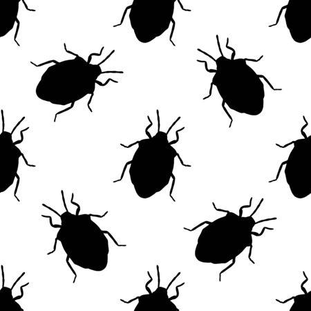 palomena: Seamless pattern with shield bug. Palomena prasina hand-drawn shield stink bug. Palomena prasina. Vector illustration