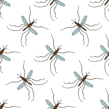 Seamless pattern with mosquito.Culex pipiens. hand-drawn mosquito. Vector illustration