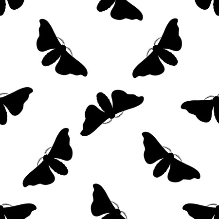bombyx mori: Seamless pattern with butterfly Bombyx mori.    hand-drawn butterfly Bombyx mori . Vector illustration