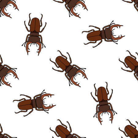 Seamless pattern with stag-beetle. Lucanus cervus. hand-drawn . Vector illustration Фото со стока - 55946974