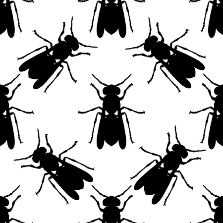 stag beetle: Seamless pattern with Wasp . hand-drawn Wasp . Vector illustration