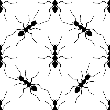 formica: Seamless pattern with ant .Formica exsecta.   hand-drawn ant. Vector illustration