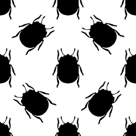insecta: Seamless pattern with colorado potato beetle. Leptinotarsa decemlineata.   colorado beetle.  hand-drawn colorado beetle. Vector illustration Illustration