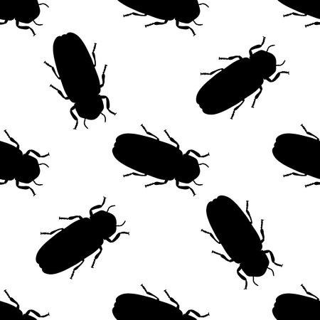 firefly: Seamless pattern with firefly beetle Lampyridae. photinus pyralis. hand-drawn firefly . Vector illustration