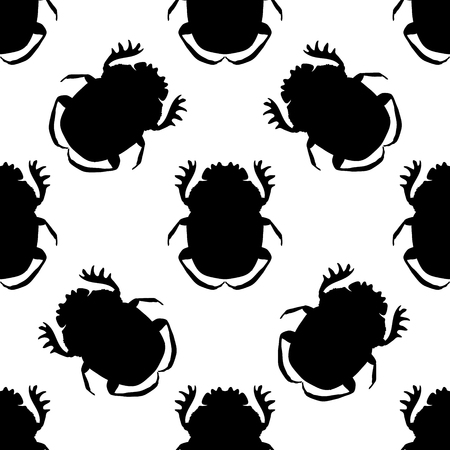 geotrupidae: Seamless pattern with dor-beetle .Geotrupidae    hand-drawn dor-beetle . Vector illustration