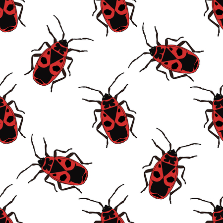 Seamless pattern with bug-soldier or Firebug . Pyrrhocoris apterus.  hand-drawn bug-soldier, Firebug . Vector illustration