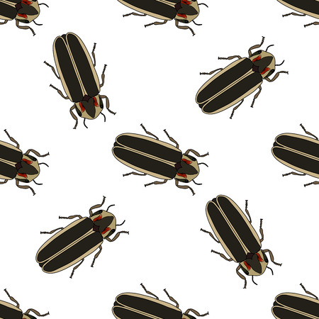 Seamless pattern with firefly beetle Lampyridae. photinus pyralis.firefly .Vector