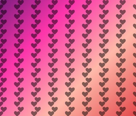 Valentine Pattern with Plain Hearts on pink violet red coral Background. Illustration Ilustração