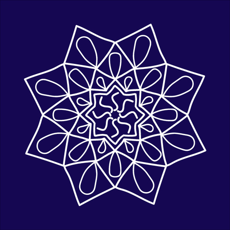Ornament white  with mandala. Geometric circle element. Perfect cards for any other kind of design, birthday and other holiday, kaleidoscope, medallion, yoga, india, arabic