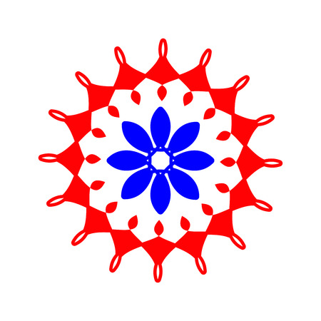 Ornament red and blue  with mandala. Geometric circle element. Perfect cards for any other kind of design, birthday and other holiday, kaleidoscope, medallion, yoga, india, arabic