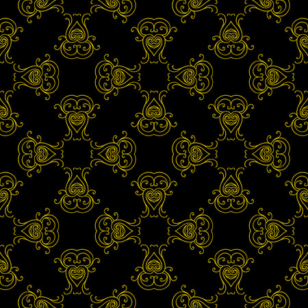 seamless pattern with golden ornament. Vintage design in Eastern style. Ornamental lace tracery. Ornate outline decor for wallpaper. Traditional arabic illustration with floral elements.
