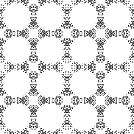 Abstract seamless pattern, vintage ornament, black and white background illustration