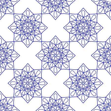 Blue Arabic Vintage Ornament. Blue mandala. Patterned Design Element