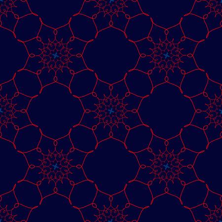 Red Arabic Vintage Ornament. Patterned Design Element, yoga for your design. Ethnic Amulet. Yoga design. Yoga mandala.illustration. Seamless pattern