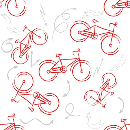 Red sport bike Ornament. Patterned Design Element, bicycle for your design. Bike design illustration. Seamless pattern Фото со стока - 57500068