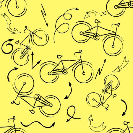 Seamless bicycles pattern. Stylish sporty print illustration Ilustração